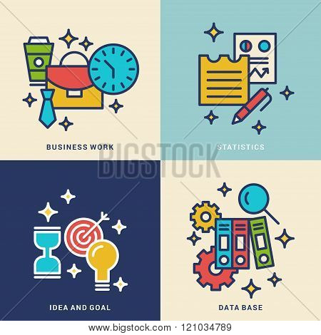 Set Of Line Art Vector Business Concept Illustrations. Business Work, Statistics, Idea And Goal, Dat