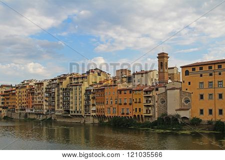 Old Buildings On The Arno River In Florence, Tuscany, Italy