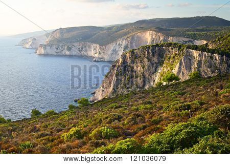 Keri's Cliffs In The Sundown, Zakynthos, Greece