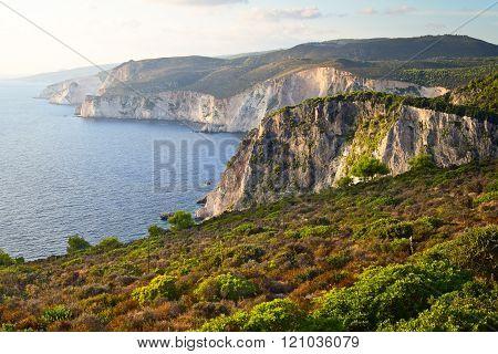 Keri's Cliffs In The Sundown, Zakynthos, Greece