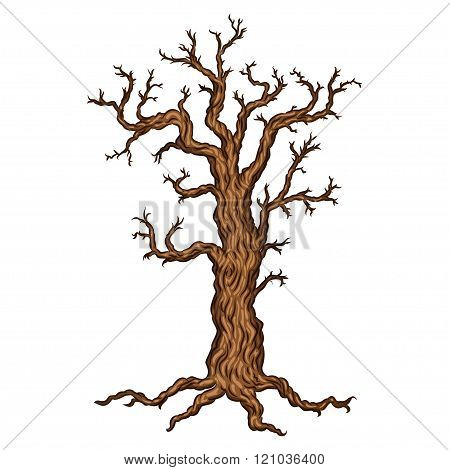 Halloween Tree, Bare Spooky Scary Halloween Tree. Vector Illustration.