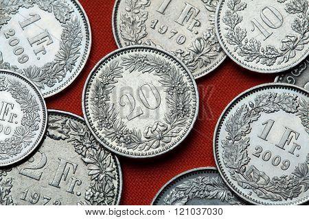 Coins of Switzerland. Swiss 20 rappen coin.