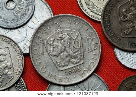 Coins of Czechoslovakia. Coat of arms of the Czechoslovak Socialist Republic depicted in the Czechoslovak 5 koruna coin (1966).