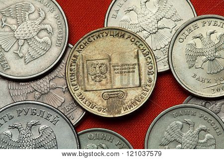 Coins of Russia. Russian commemorative 10 ruble coin dedicated to the 20th Anniversary of the Constitution of Russia.