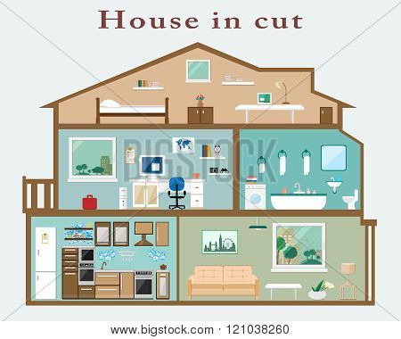House in cut. Detailed flat style interior. Set of rooms with furniture