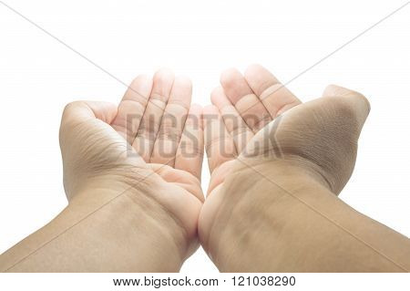 Open Empty Pray Hands Isolated