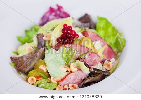 food salad with iceberg meat mushrooms pickles and hazelnuts for a menu macro piquant