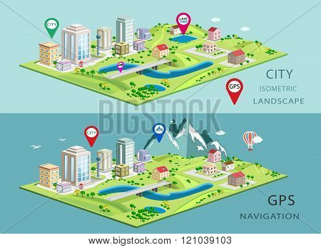 Isometric landscapes with city buildings, parks, plains, hills, mountains, lakes and rivers.