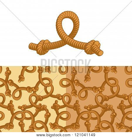 Rope Knot. Set Pattern Of Rope. Thick Rope Texture. Rope Thick Rope