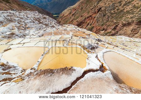 Glowing White Salt Pans On The Peruvian Andes