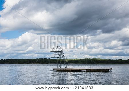 Diving Platform On The Baltic Sea Coast