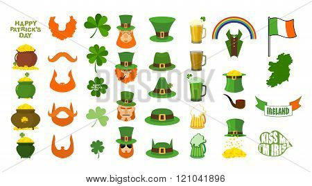 Patricks Day. Set Of Icons. Red Beard And Pipe. Leprechaun In Green Hat. Pot Of Gold. Shamrock And C