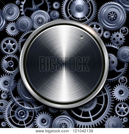 Technology volume button on gears background, vector design.