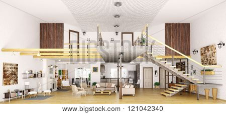 Modern Loft Apartment Interior In Cut 3D Render