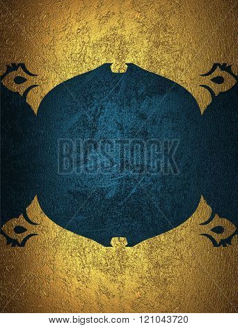 Gold Grunge Frame With Blue Background. Element For Design. Template For Design. Copy Space For Ad B