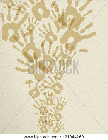Hand Print Monochrome Illustration Background