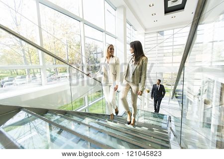 Multiethnic People Walking In The Office