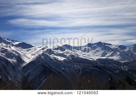 Sunlight snowy mountains in nice evening