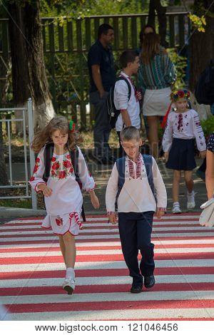 Kiev, Ukraine -  September 01, 2015: Children In National Costumes Back From School After Lessons