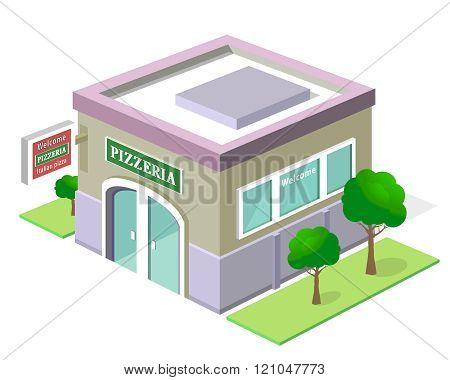 Vector isometric pizzeria building