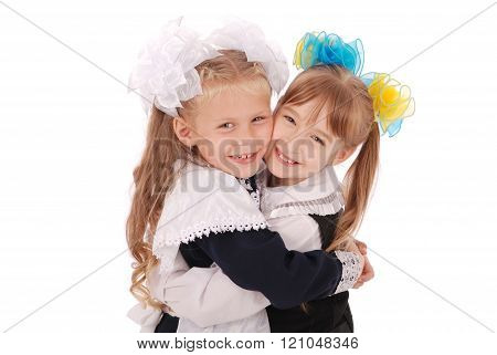 Young Schoolgirls Hugging White Background With Soft Shadow