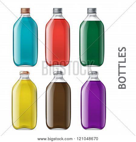 Set of realistic bottles