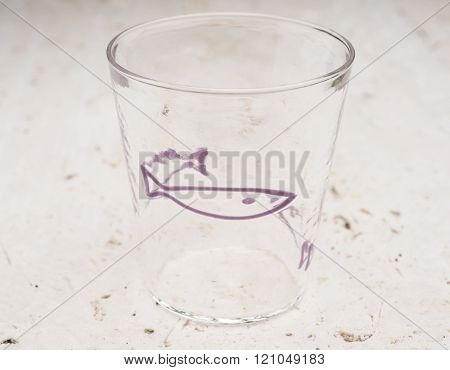 Crystal Drinking Glass With Purple Fish Design