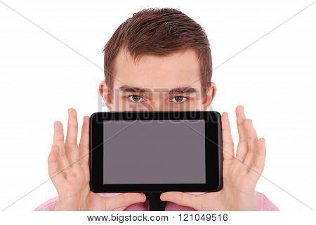 Boy In A Shirt Hold A Tablet Pc In Front Of His Face