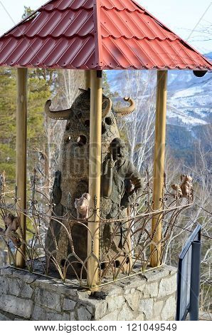 Belokurikha/Russia - february 2016: Sculpture on the top of Tserkovka mountain in the vicinity of the resort Belokurikha Altay Russia.