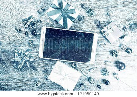 christmas gifts on wood