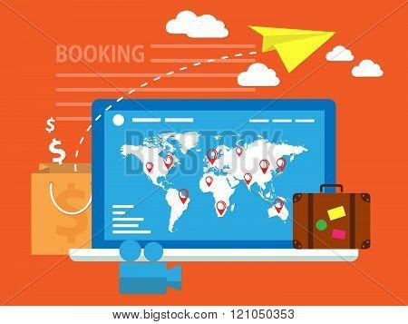 Flat design travel composition. Booking online concept