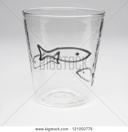Crystal Drinking Glass With Outlined Black Fish Design