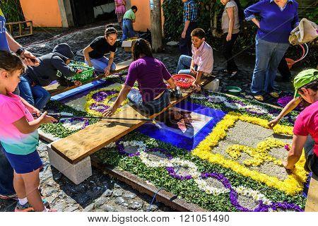Family Making Lent Carpet, Antigua, Guatemala