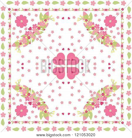 Floral Background, Pink Girl Pattern
