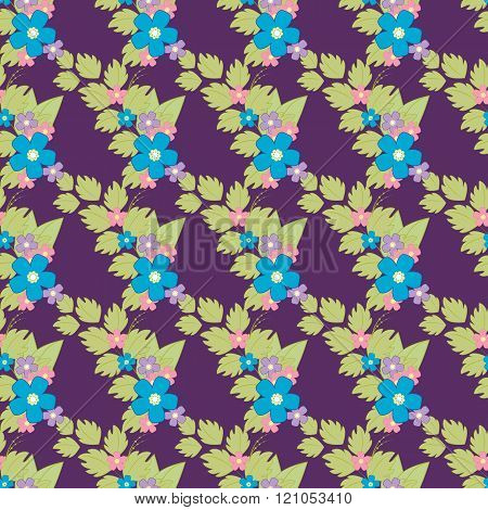 Cute Retro Flower Background, Seamless Fabric Pattern