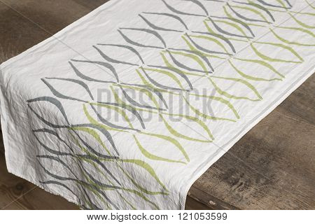 White Towel Or Linen With Concave Line Pattern Design
