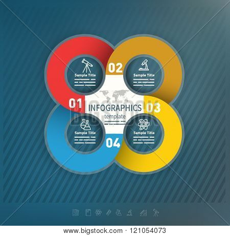 4 options abstract business presentation template used for brochures, diagrams, banners web designs, infographics