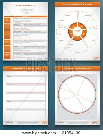 Four graphic templates with charts, graphs and columns to display information