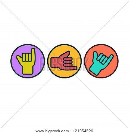 Shaka Or Hang Loose Sign Gesture.