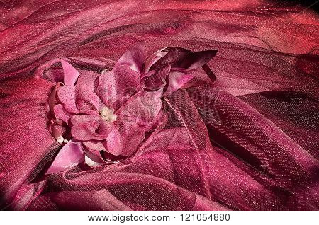 dark red Fabric flower on the dress, Glamour red delicate fabric background with flower fabric