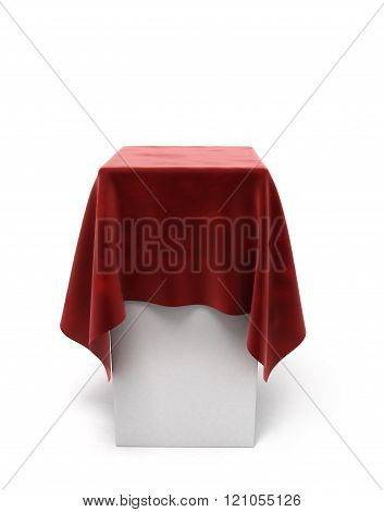 Red Velor Cloth On A Square Pedestal Isolated On White