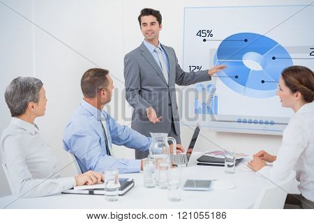 Global business interface against businessman pointing the white screen