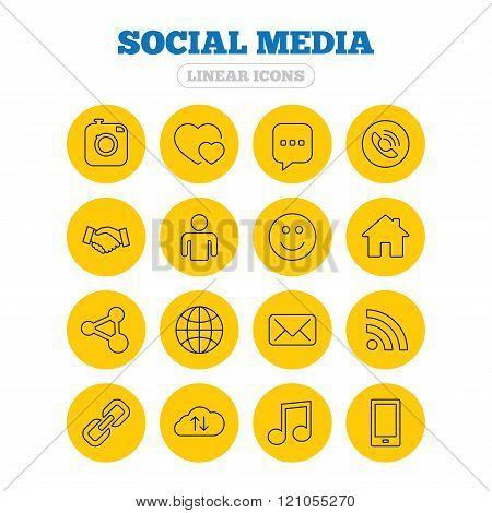 Social media icons. Speech bubble, lovers.