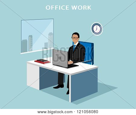 Office manager working at computer in the office. Faceless man with laptop.