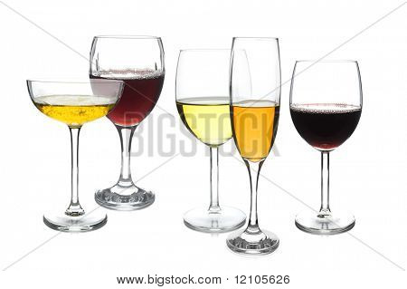 Different design of wine glasses on white background