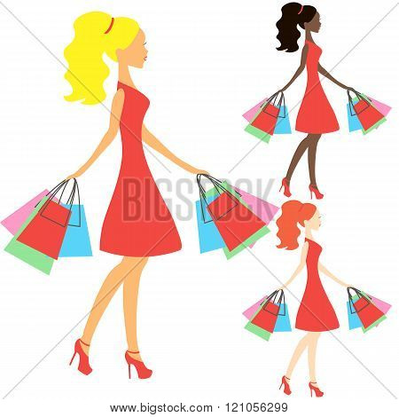 Girls Of Different Nationalities Vector, Online Store Logo, Silhouette, Sale Icon On White Backgroun