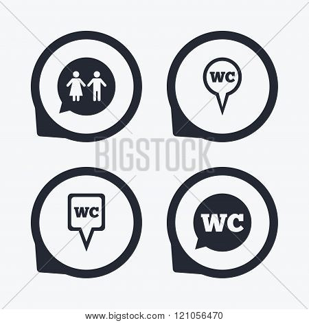 WC Toilet pointer icons. Gents and ladies room.