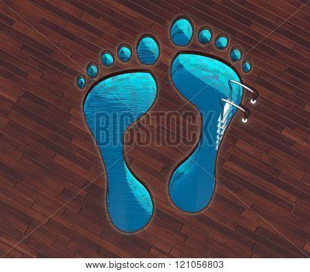 Shaped Pool Footstep