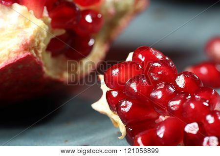 Closeup of ripe and juicy pomegranate seeds