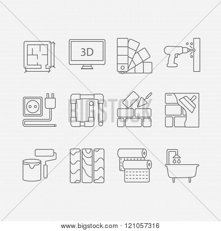 Interor desig icons isolated